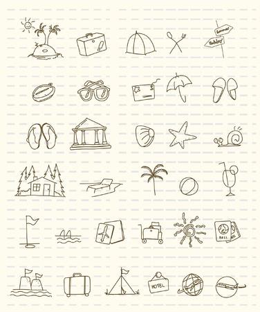 sandal tree: 32 summer holiday icon  Illustration