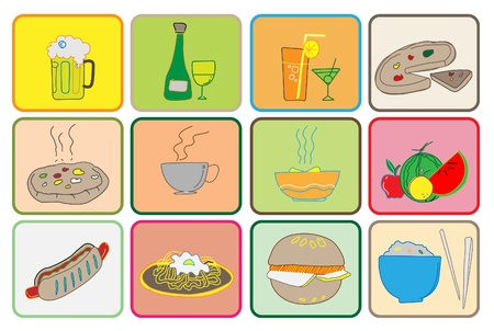 Set of editable food and drink Vector