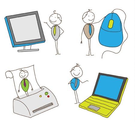 lcd monitor printer: computer salesman vector