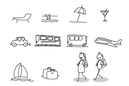 transportation cartoon: holidays tour & travel  Illustration