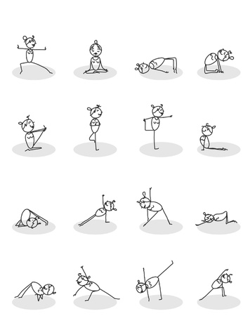 pilates: set of yoga poses vector  Illustration