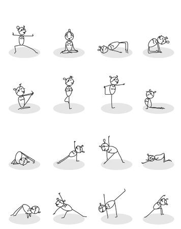 set of yoga poses vector  Illustration