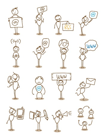 hand drawn: businessman technology communication concept  Illustration