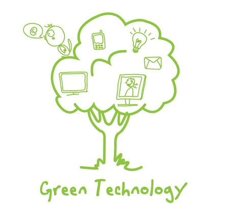 green ecology technology tree vector  Vector
