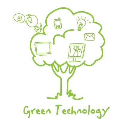 green ecology technology tree vector Stock Vector - 11122879