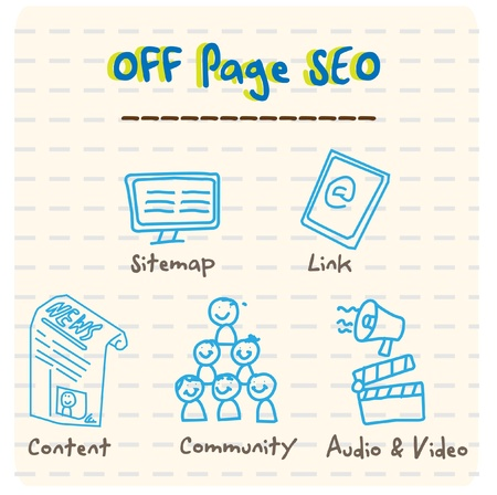 page rank: Off Page SEO Vector