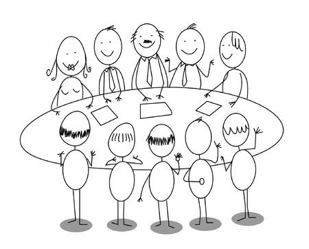 teamwork cartoon: meeting office cartoon