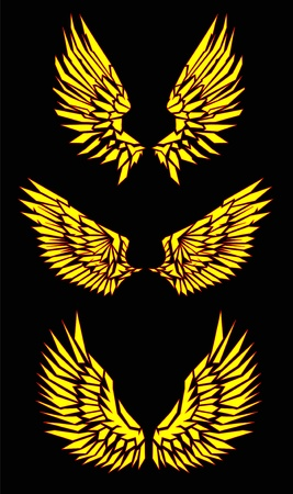 black yellow red vector wings  Vector