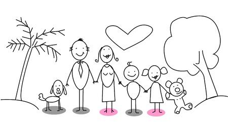 familia parque: familia feliz Vectores