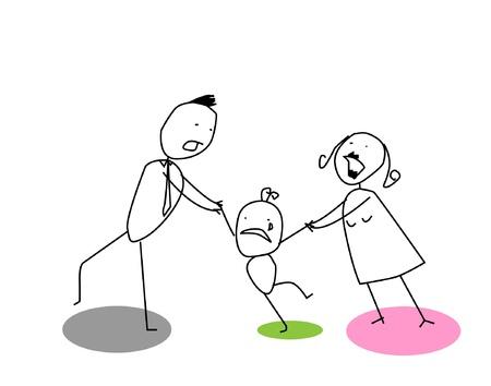 genitore figlio: divorzio uomo donna Vettoriali