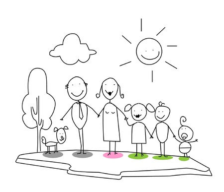 cloud clipart: happy family  Illustration