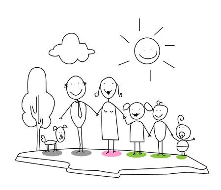 family isolated on white: happy family  Illustration