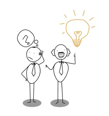 quest: question, idea & man  Illustration