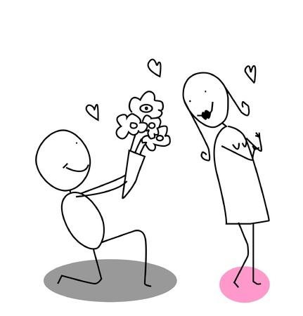 dating and romance: fiore di donna, l'uomo ama Vettoriali