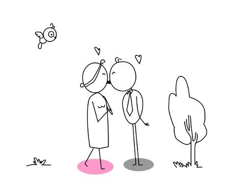 enamorados caricatura: beso de dibujos animados