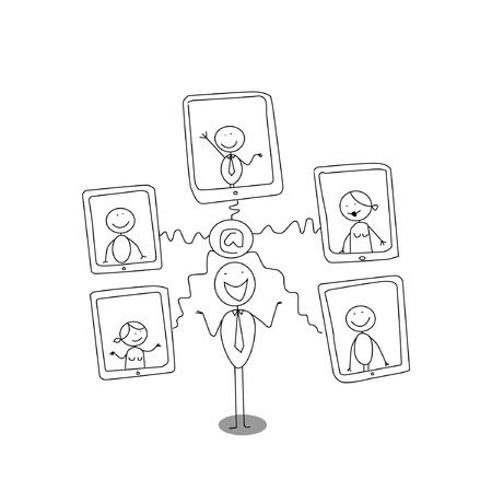tablet internet cartoon  Vector