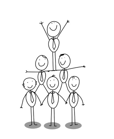 team working together: organitation chart teamwork  Illustration