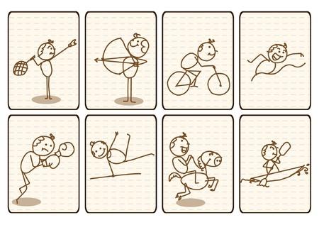 barco caricatura: Indica vector Doodle Dibujos deporte signo colecci�n