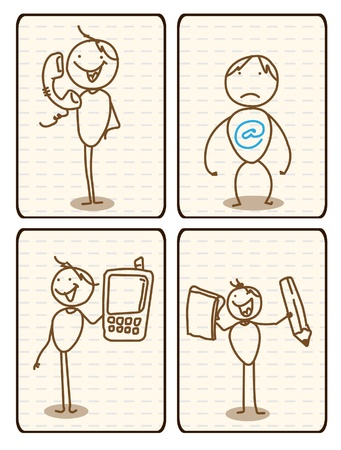 Man Internet, phone,cellular and letter vector  Vector