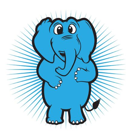 elephant smile stand character  Vector