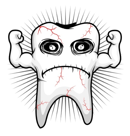 karies: tand sjuk stark karaktär Illustration