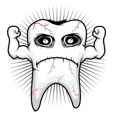 holten: tand ziek sterk karakter Stock Illustratie