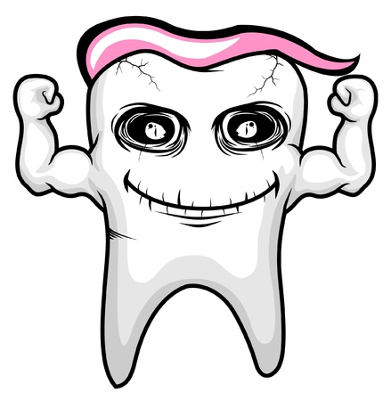 hematology: strong pink tooth character  Illustration