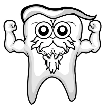 old tooth character still strong character Stock Vector - 11312280