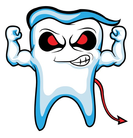 devil strong tooth character  Vector