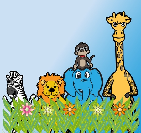 animal heads: zebra monkey elephant girafe lion group at park  Illustration