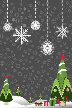 snowflakes landscape tree  Vector
