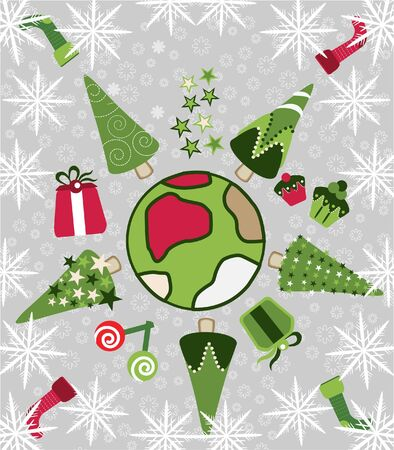 world christmas tree  Vector