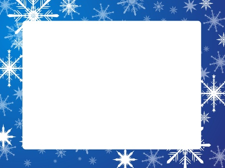 christmas border: Snowflakes frame blue  Illustration