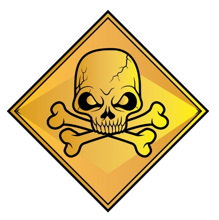 electricity danger of death: Skull sign danger  Illustration