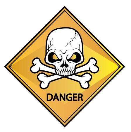 sterbliche: Sch�del-Schild Gefahr Illustration