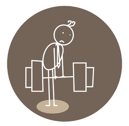 weak weightlifting doodle  Vector