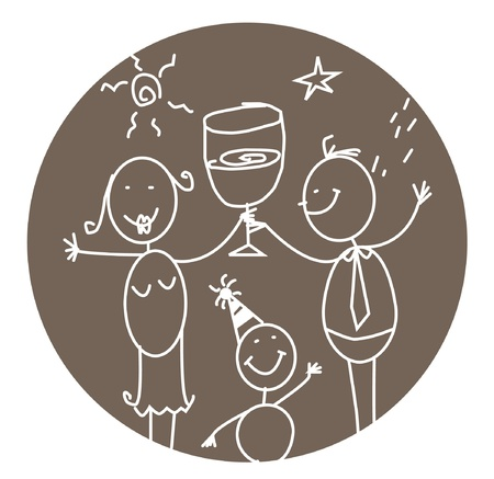 simple line drawing: party family