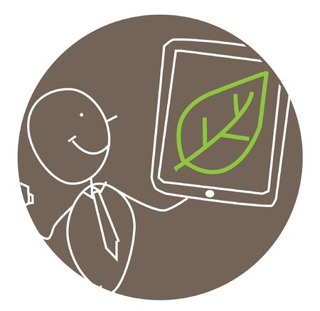 man ecology presentation vector Vector Illustration