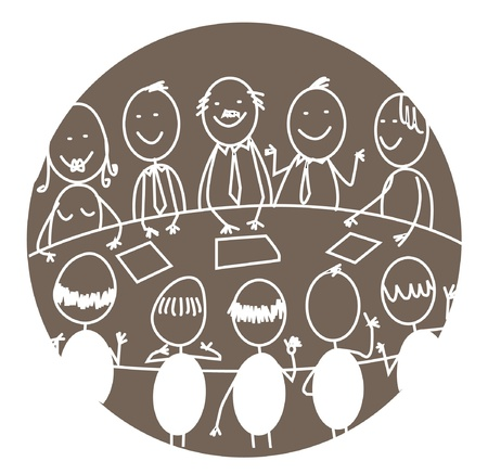 round table conference: business meeting teamwork  Illustration