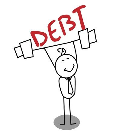 Strong Businessman Debt  Stock Vector - 11815134