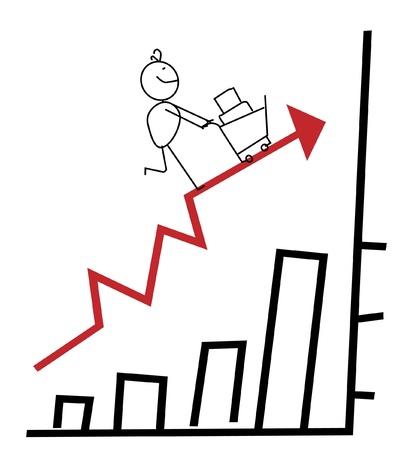 Happy Businessman Up Chart  Vector