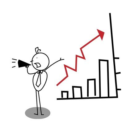 realizować: Biznes promocja w górÄ™ wykresu Ilustracja