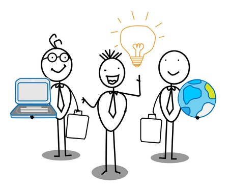 computer support: Businessman Idea Team work with world & Connection  Illustration