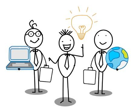 Businessman Idea Team work with world & Connection  Illustration