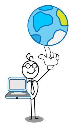 Businessman world & notebook Vector