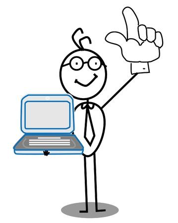 advanced technology: Businessman up hand & notebook vector