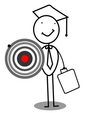 graduacion caricatura: Objetivo de Posgrado Vectores