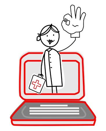 nurse with Online Service  Vector