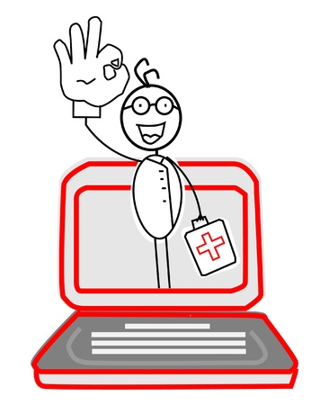 Happy doctor with Online Service Stock Vector - 11815120