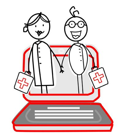 doctor & nurse with Online Service  Vector